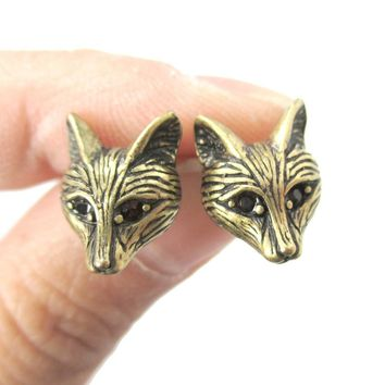 Detailed Wolf Fox Face Shaped Stud Earrings in Brass with Rhinestones | Animal Jewelry