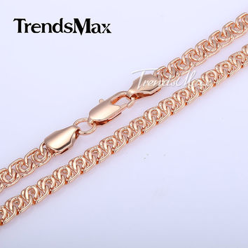 7MM Wide Womens Mens Chain Unisex Boys Girls Snail Link Rose Gold Filled Necklace Chain Fashion Gift Bulk Sale Jewelry GN326