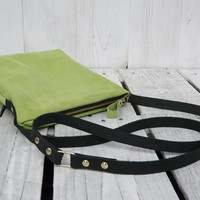 Grenn crossbody Pistachios bag leather purse Nubuck leather small crossbody bag Purse Clutch
