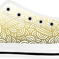 Gradient yellow and white swirls doodles White Low Tops