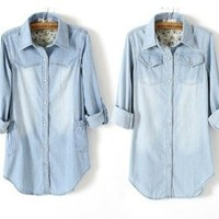 Women's Long Pocket Light Blue Denim Collar Long Sleeves Blouse 2 styles