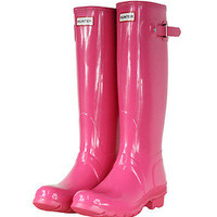 HUNTER ORIGINAL TALL GLOSS FUCHSIA WELLINGTON BOOTS SIZES 6 - 9  Welly Pink