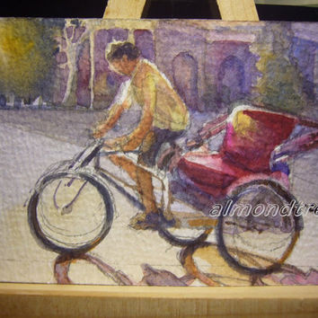 Trishaw Rider Vanishing Trades Original ACEO Watercolor Painting id1300789