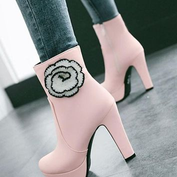 Pink Round Toe Chunky Flower Patchwork Fashion Boots