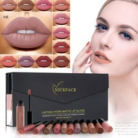 Velvet Matte Lipstick Set Sexy Red 12 Colors Liquid Lipgloss Waterproof Lip StickLip Kit Matte Batom Long Lasting Brand Make Up