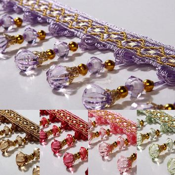 Window curtain tassel fringe trim pumpkin crystal beaded ribbon for sewing curtain accessories home textile Drapery Sewing Decor