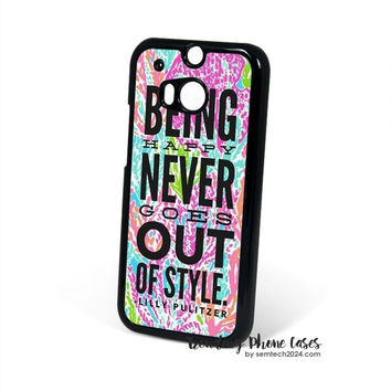 Lilly Pulitzer Quote-Lets Cha Cha-Being Happy Never Gose Out Be Style HTC One M8 Case Cover for M9 M8 One X Case