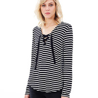 Long Sleeve Lace-up Striped Sweatshirt