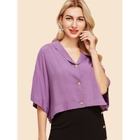 Solid Button Up Batwing Shirt