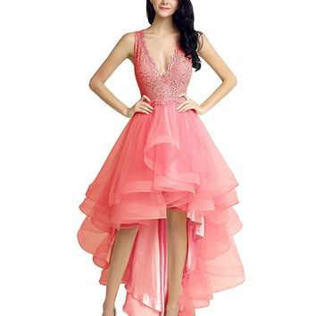 Topwedding Women's High Low Bridesmaid Dress Tulle Lace Homecoming Dress Prom Dress