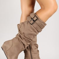 Suede Slouchy Double Buckle Wedge Boot