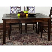 Sunny Designs 1273DC Santa Fe Extension Table with Slate Top In Dark Chocolate