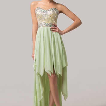 Light Green Off Shoulder Beaded Assymetrical Hig-Low Maxi Dress