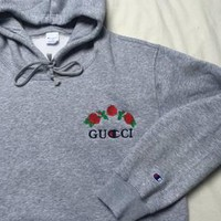 One-nice™ GUCCI : Hot long flower rose print champion sweater grey hoodie pullover sweatershirt