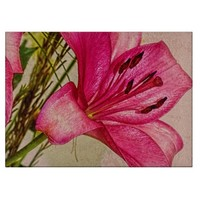 Pink Lilies Petals Twigs Glass Cutting Board