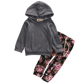 2017 Fashion Autumn Winter Baby Girls Clothes Set Cute Hooded Coat Tosp+Floral Pants Newborn Infant Kids Costume Clothing Set