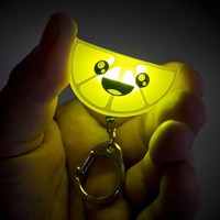 Squishy Happy Face Citrus Lights Charming Lemon Wedge Shaped Key Chain