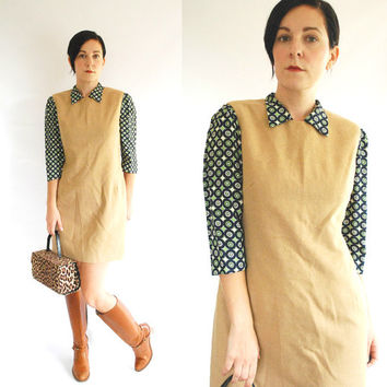 90's Shift Dress - Camel Hair Jumper Dress - Size M