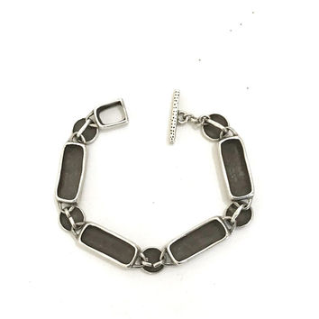 Lisa Jenks Modernist Sterling Silver Bracelet, Matte Sterling Silver, Geometric Links, Boho Style, Tribal Chic, Signed, Vintage Gift for Her