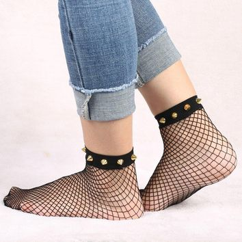 Harajuku Goth Punk Studded or Pearl Fishnet Socks