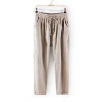 Plain Drawstring Waist Harem Pants With Pocket