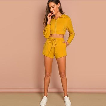 Ginger Zip Up Crop Hoodie And Shorts Set