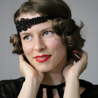 "Black Headband, Flapper 1920s Style Hair Accessory, Art Deco Head Band, Antique Victorian Glass Beadwork, Heirloom - ""Night Atop the Stars"""