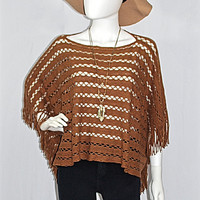 Shine Bright Cognac & Gold Open Knit Fringed Poncho Sweater