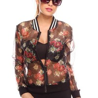 BLACK CLEAR MESH FLOWER PRINT ZIPPER ROUND COLLAR SEE THROUGH CASUAL SWEATER