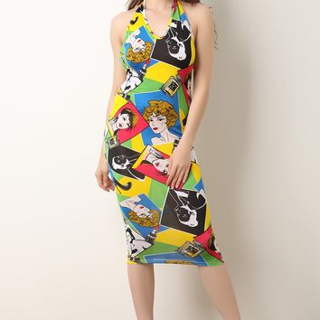 Headshot Pop Art Halter Neck Midi Dress