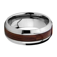 8mm Wood Inlay Men's Cobalt Free Tungsten Carbide COMFORT-FIT Wedding Band Ring for Men and Women (Size 8 to 12)