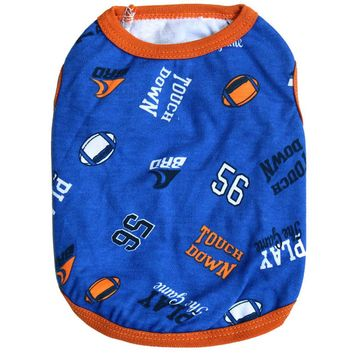 Football Themed Cat Shirt in Orange and Blue Or Grey and Black