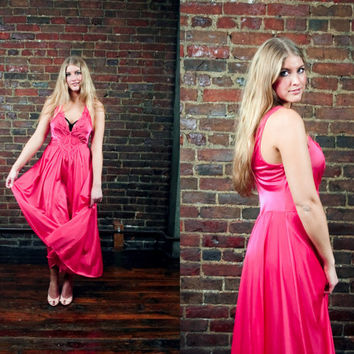 Vintage Hot Pink Olga Nightgown / Valentines Day Lingerie / Bombshell Nightie Bedroom Boudoir /  Fuchsia Sleepwear / Extra Large / Plus Size