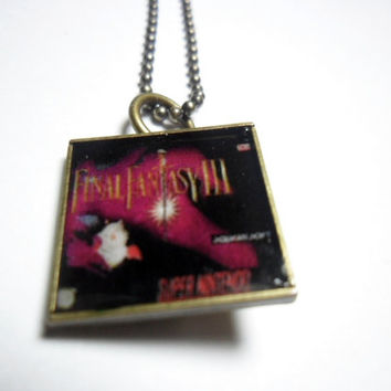 Video game necklace Final Fantasy 3 pendant on ball chain - free size adjustments - Final fantasy 6 - final fantasy jewelry - SNES games -