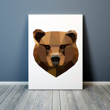 Geometric bear poster Animal art Grizzly print Colorful decor TO305-1