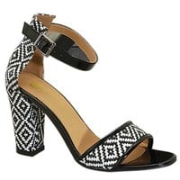 Black/White Print Heel