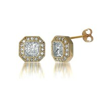 14K Gold Over Sterling Silver Octagon Cubic Zirconia CZ Stud Earrings #e534-02