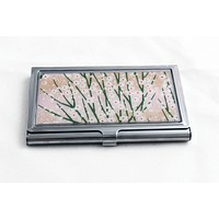 Pink and Gold Floral Meadow Card Case