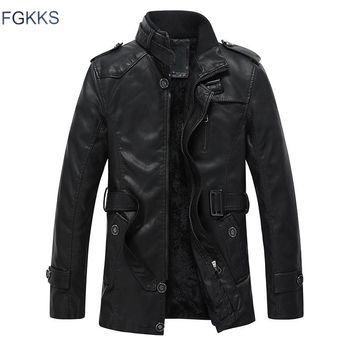 FGKKS New Warm Design Leather Jacket Men With Washed Motorcycle Standing Collar Jaqueta De Couro Leather Jackets Coat