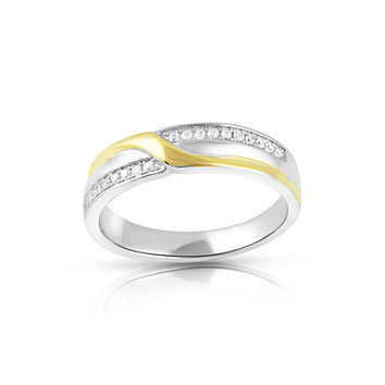 Two Tone Sterling Silver Simulated Diamond X Ring