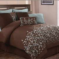 Luxury Home 8-Piece Leaves Comforter Set, Chocolate, Queen
