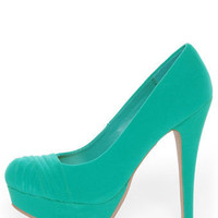 Bamboo Ericka 04 Sea Green Suede Ruched Platform Heels - $38.00