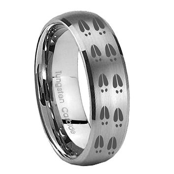 8MM Classic Satin Silver Dome Deer Tracks Tungsten Laser Engraved Ring