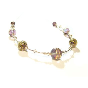 Murano Glass Amethyst Brown Ball Gold Necklace