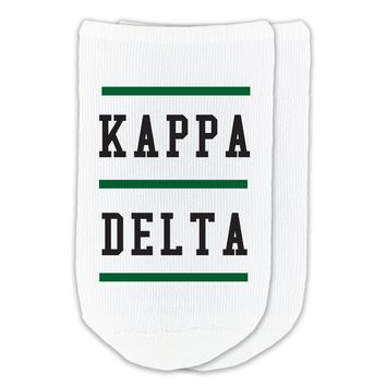 Kappa Delta - Sorority Name with Stripes on No-Show Socks