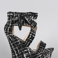Bamboo Abstract Print Side Bow Crisscross Open Toe Platform Wedge | UrbanOG