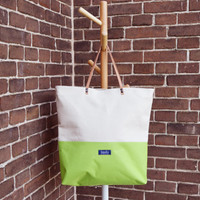 Large canvas tote bag shopping bag casual tote school bag neon green beige book bag beige genuine leather strap for women
