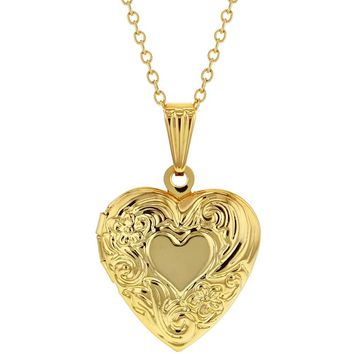 Small Heart Locket Necklace Flower Photo Remembrance Girls 19""