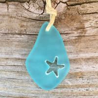 Caribbean Blue Sea Glass Carved Starfish Necklace by Wave of Life™