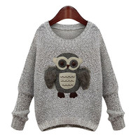 Fur Owl Embroidered Knitted Sweater